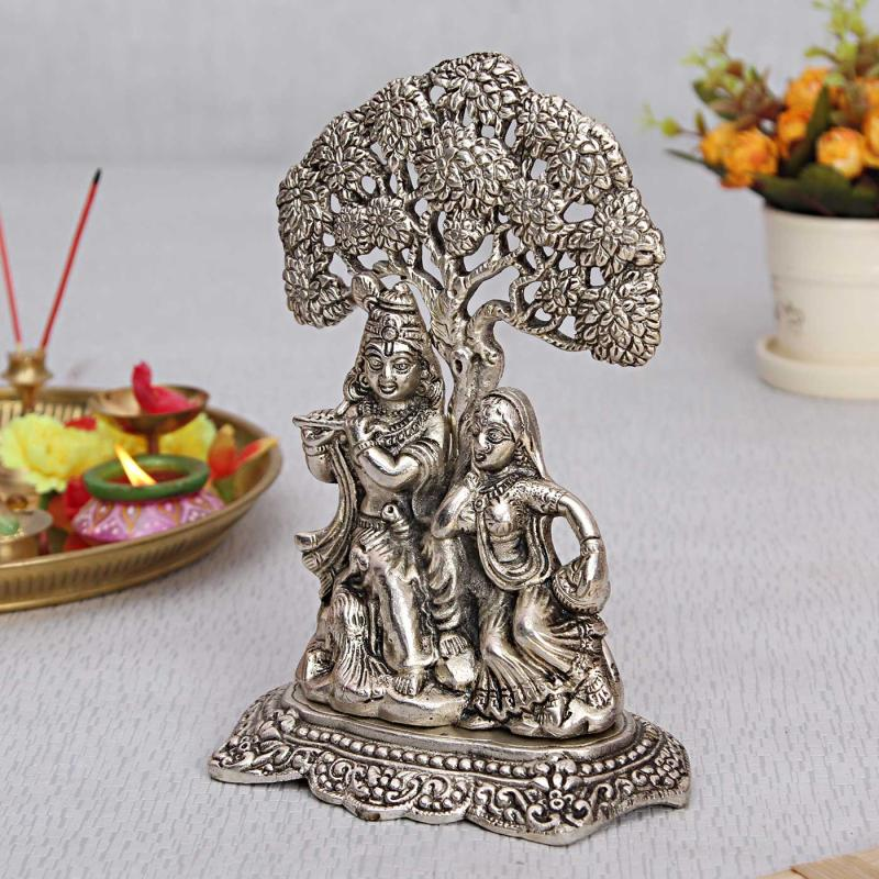 Exquisite White Metal Radha Krishna Idol