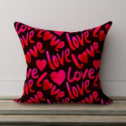 Awesome Black Satin Love Pillow