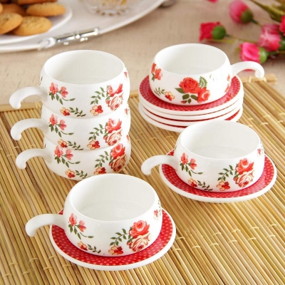 Flowers Printed Cup Set with Saucer
