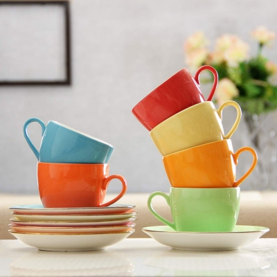 Colorful Cup Set with Saucers