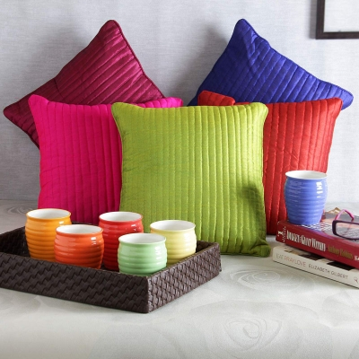 Multicolor Cushion Set and Cup Set
