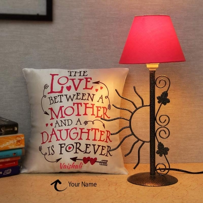 Wrought Iron Table Lamp and Personalized Cushion Hamper