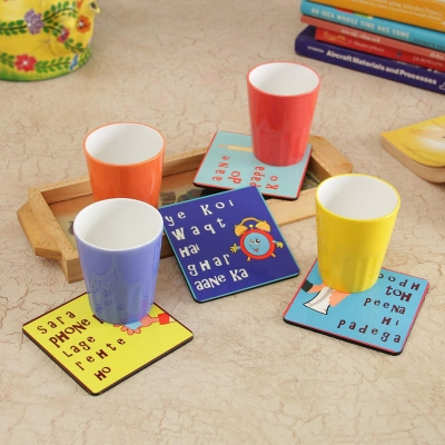 Awesome Multicolored Glasses and Coasters Set