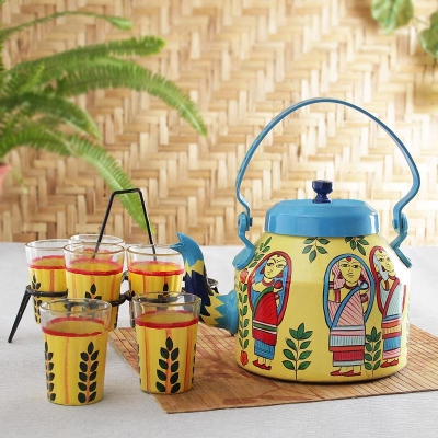 Aluminium Kettle and Tea Glasses with Ethnic Oil Painting