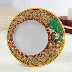 Peacock Marble Round Frame