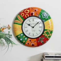 Multicolored Wooden Embossed Painting Wall Clock
