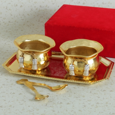 Gold Silver Plated Tray, Bowl and Spoon