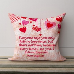 Falling Hearts Love Quotation Pillow
