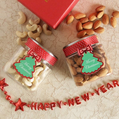 Cashews and Almonds Jar with New Year String