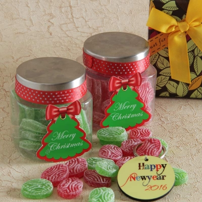 New Year Key Chain with 2 Candies Jars