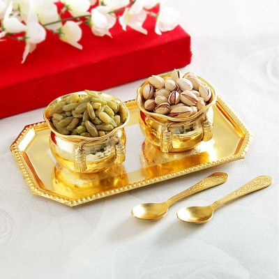 Silver and Gold Plated Bowl Set with Dry Fruits