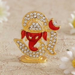 Golden Metal and Stone Worked Car Ganesha
