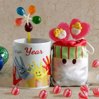 Ceramic White Mug with Candies and Santa Potli