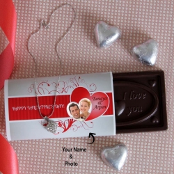 Chocolate with Personalized Cover and Pendant