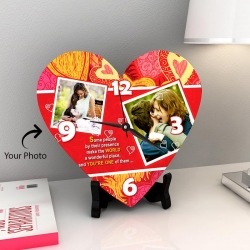 Picture Perfect Personalized Heart Wall Clock