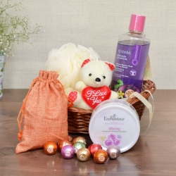 Bath Accessories with Chocolates and Teddy