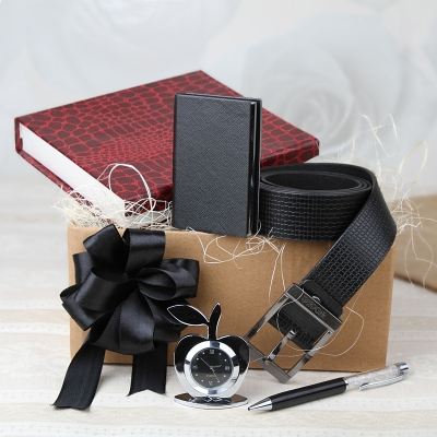 Leather Belt with Table Watch, Pen and Card Holder