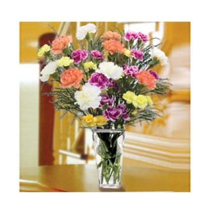 Classic Carnations With Vase