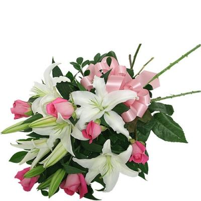 White Lilies & Pink Roses Bouquet