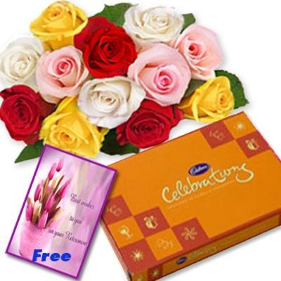 Mix Roses with Chocolates N Free Card