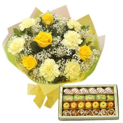 Assorted Sweets with Yellow Roses N Carnations