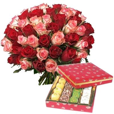 Dual Roses Combo with Lots of Sweets