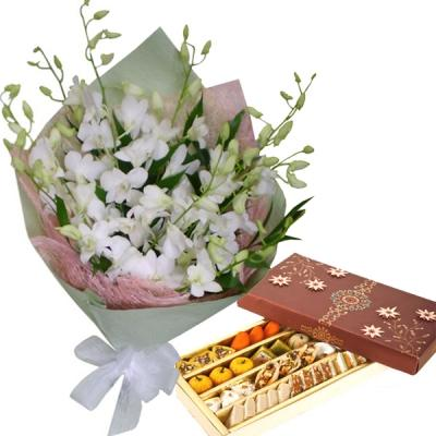 Orchids with Assorted Sweets
