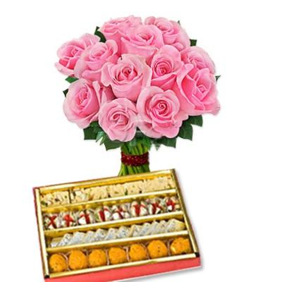 Assorted Sweets & Pink Roses