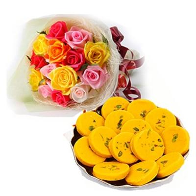 Mix Color Roses with Kesar Pedas