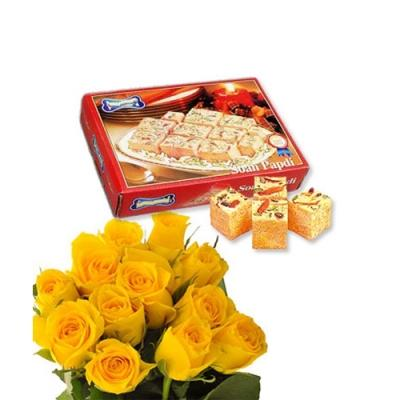 Yellow Color Roses N Soan Papdi