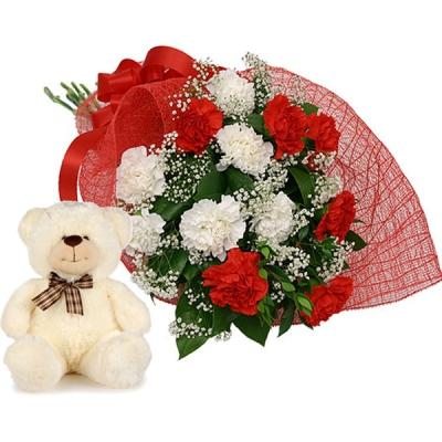 Cuddly Bear with Beautiful Carnations