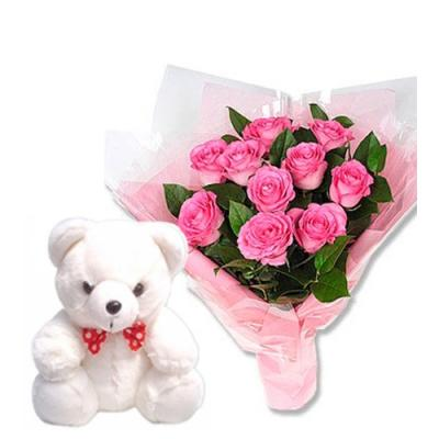 Pink Color Roses with Teddy Bear