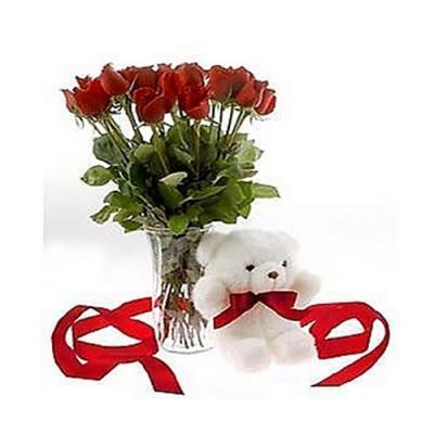 Red Roses Vase with Teddy