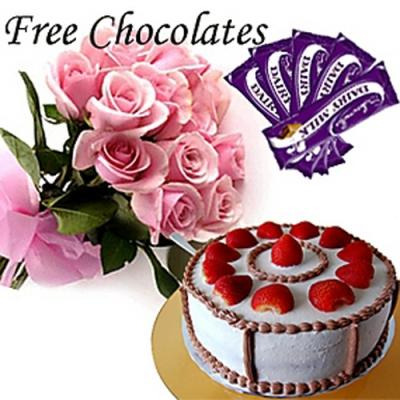 Pink Roses with Cake and Free Cadbury Chocolates