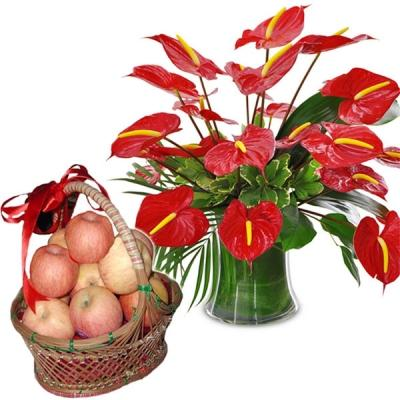 Apples With Anthuriums