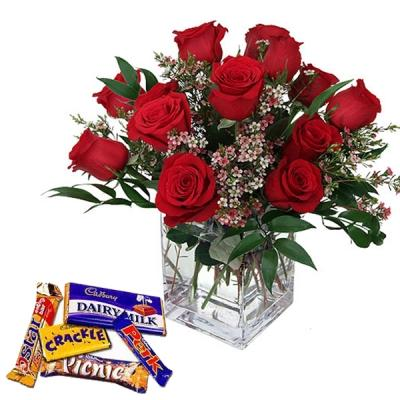 Red Roses Vase with Assorted Chocolates