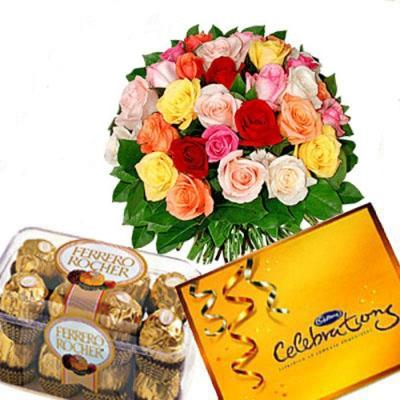 Color Roses with Celebrations N Rocher Chocolates