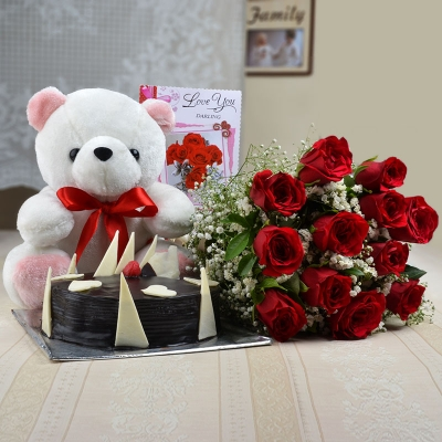 Twelve Red Roses with Cake and Teddy