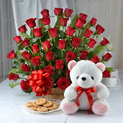40 Red Roses Basket with Teddy and Cookies
