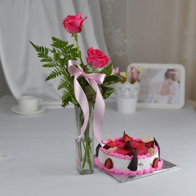 Pink Roses in Vase with Strawberry Cake