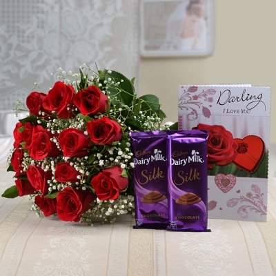 15 Red Roses with Chocolates and Love Card