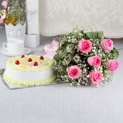 Pink Roses & Pineapple Cake Combo