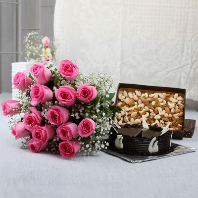 15 Roses with Cake and Dry Fruits