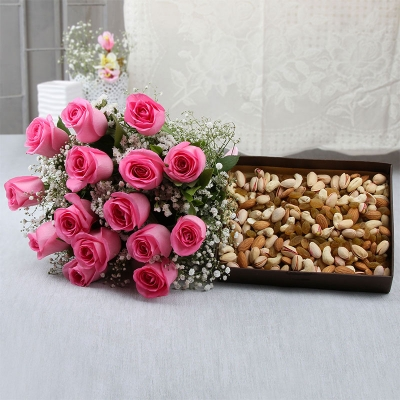 15 Pink Roses with Dry Fruits