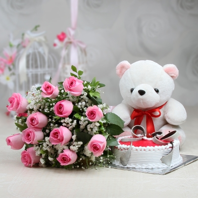 12 Roses with Strawberry Cake and Teddy