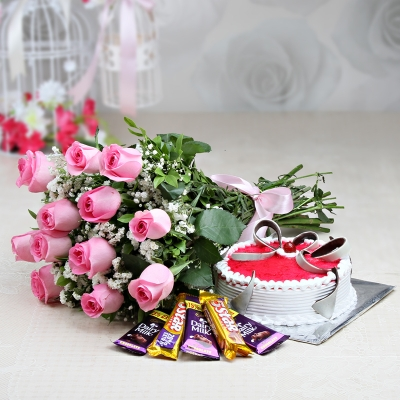 12 Roses with Cake and Chocolates