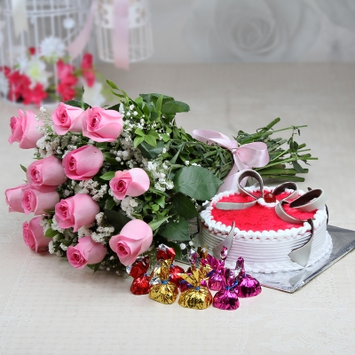 Pink Roses with Cake and Chocolates