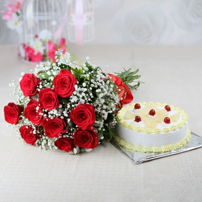 Roses and Pineapple Cake Combo