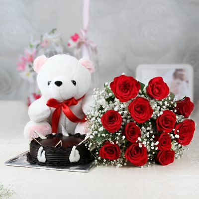 12 Red Roses with Cake and Teddy
