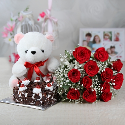 Black Forest Cake with Roses and Teddy